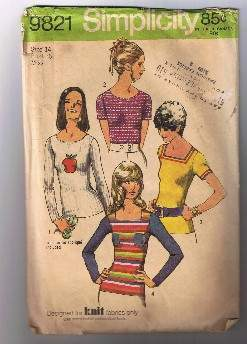 Vintage 1971 SIMPLICITY 9821 Misses Pullover Tops - Size 14 - Cut and Complete