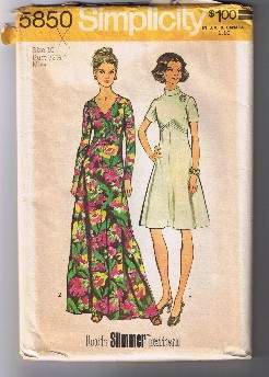 Vintage 1973 SIMPLICITY 5850 Miss Dress in Two Lengths - Size 10 - UNCUT