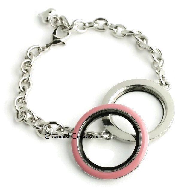 30mm Floating Charm Memory Locket Bracelet With Pink Enamel Screw Top Lid