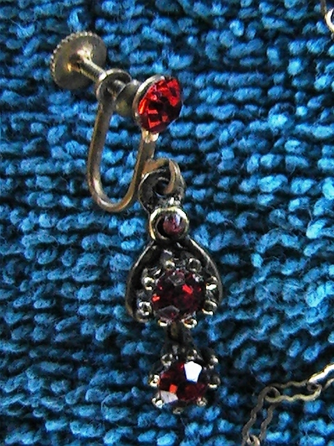 Vintage 3 piece necklace and erring set with red stones