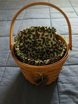 1994 Longaberger Round Corn Basket w/ Handle Fabric Liner & Tie-On Combo  - $18.80