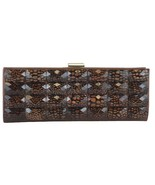 Sondra Roberts Elegant Croc Design Bronze Jeweled Satin Evening Clutch - $44.90