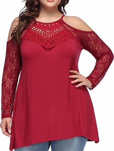 Women Plus Size Retro Lace Crochet Long Sleeve Casual T-Shirt Tops 1X,Wine