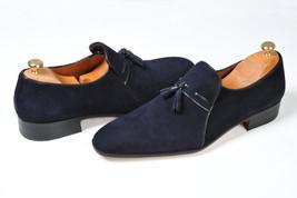 Handmade Men's Navy Blue Slip Ons Tassel Loafer Suede Shoes image 1