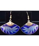 Blue Bamboo Pattern Cloissonne Wire Goldtone Fan Earrings - $5.50
