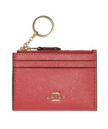 NWT COACH Mini Skinny ID Case Card Wallet Key Ring Poppy Red Pink Gold F... - $34.65