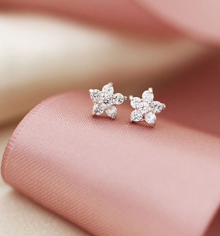 Mini Cherry Blossom White Crystal Studs Earrings. 925 Silver Floral Studs