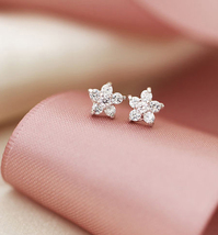 Mini Cherry Blossom White Crystal Studs Earrings. 925 Silver Floral Studs  image 1