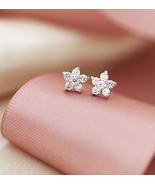 Mini Cherry Blossom White Crystal Studs Earring... - $20.50