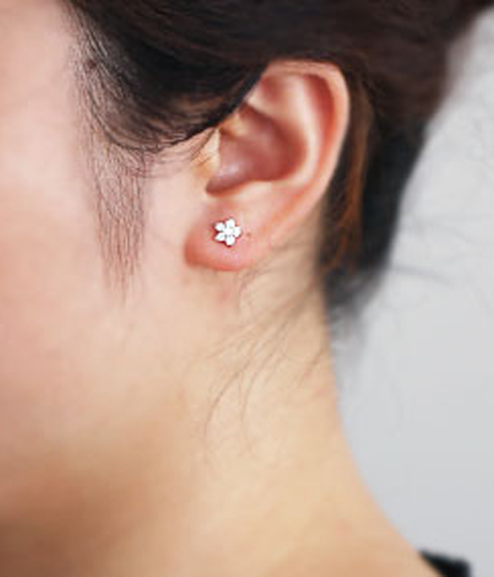 Mini Cherry Blossom White Crystal Studs Earrings. 925 Silver Floral Studs  image 2