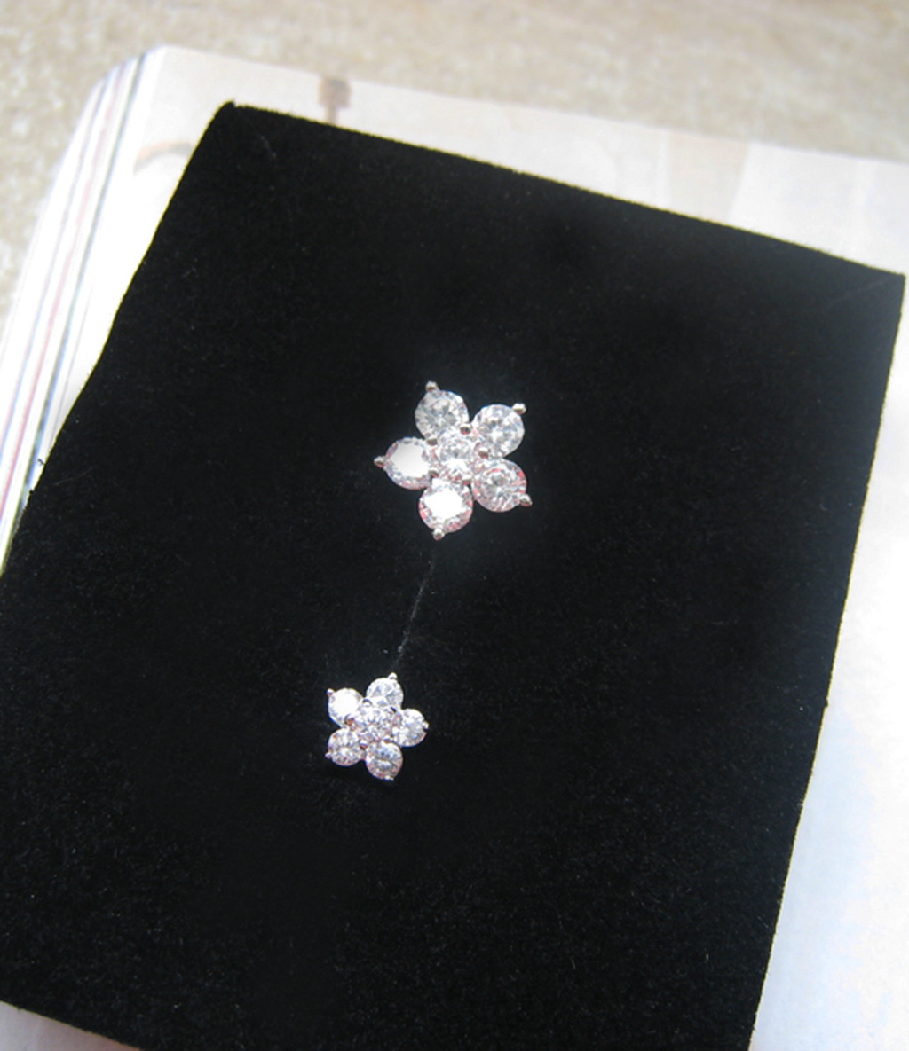 Mini Cherry Blossom White Crystal Studs Earrings. 925 Silver Floral Studs  image 3