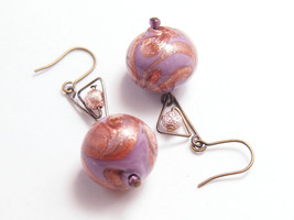 Murano dangle earring Woman violet drop jewelry Free shipping handmade m... - $23.00