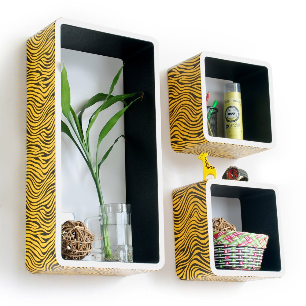 [Yellow Zebra Stripe] Rectangle Leather Wall Shelf(Set of 3)