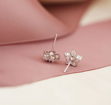 Elegant Bridal Studs. Cherry Blossom White Crystal Earrings Studs. 925 Silver  image 3