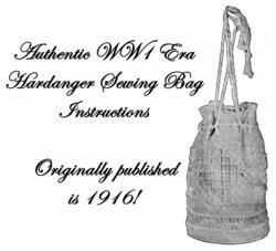 Hardanger Bag Pattern Needlework Purse WWI Era 1916