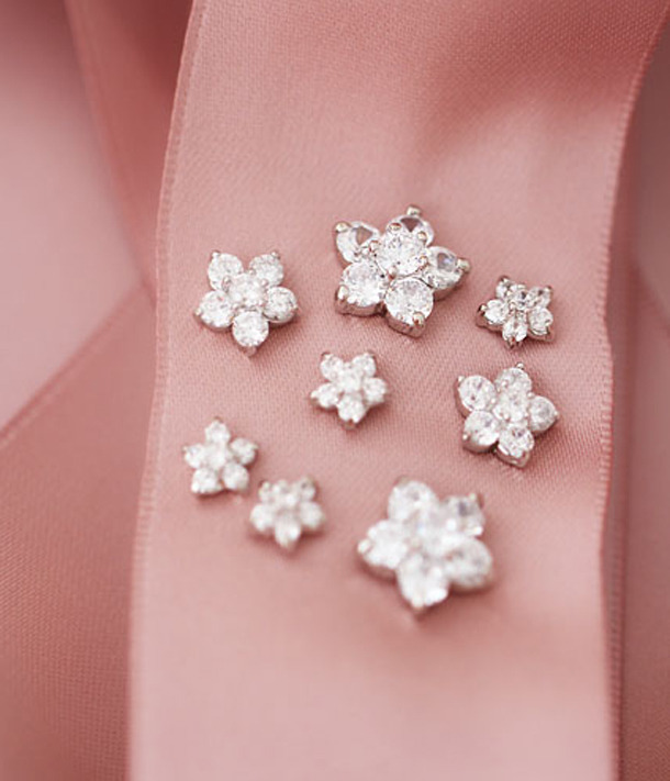 Elegant Bridal Studs. Cherry Blossom White Crystal Earrings Studs. 925 Silver