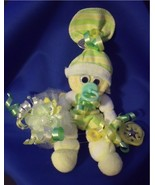 Yellow Green Mini Sock Corsage & Baby Gift in One - $10.95