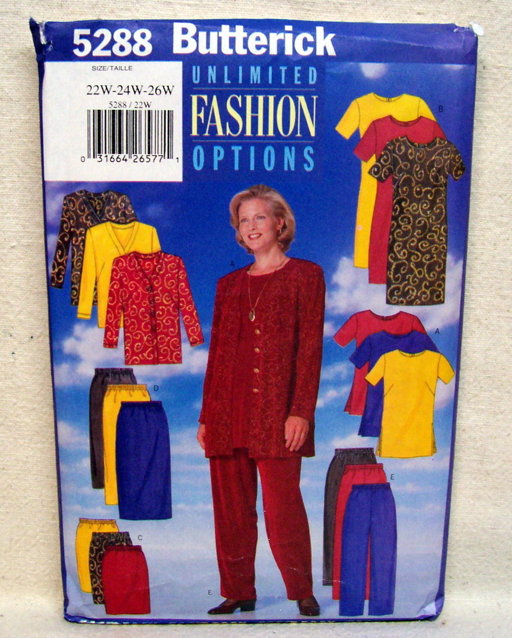 Butterick PLUS SZ.#5288 Jacket Dress Tunic Skirt Pant Sz 22W-24W-26W