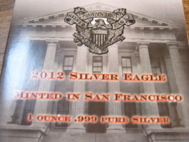 2012 Silver Eagle Minted In San Francisco , 1 ounce .999 Pure Silver image 2