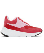 Alexander McQueen Pelle S. Gomma Pink & Red Runner Sneakers Mult Sz $590... - $331.49