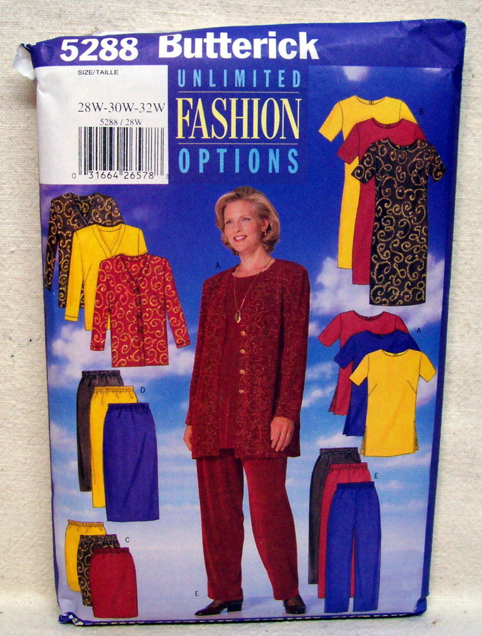 Primary image for Butterick PLUS SZ.#5288 Jacket Dress Tunic Skirt Pant Sz 28W-30W-32W