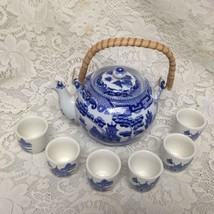 Vintage Japan, 8pc Blue Willow Tea Set with 6 Handless Tea Cups - $142.45