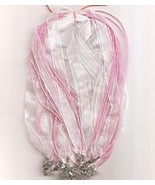 "Pale Pink Volie W Metal Lobster Chain 46 CM 1/2"" Silk S  - $1.75"