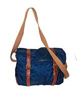 Fossil Estate East West Navy Nylon Leather Trim Laptop Messenger Bag MBG9261 - $129.99