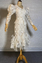 Vintage Style White Lace Dress Outfit Sleeve Mermaid Lace Bridal Wedding Outfit image 3