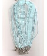 "Pale Blue Volie W Metal Lobster Chain 46 CM 1/2"" Silk S  - $1.75"