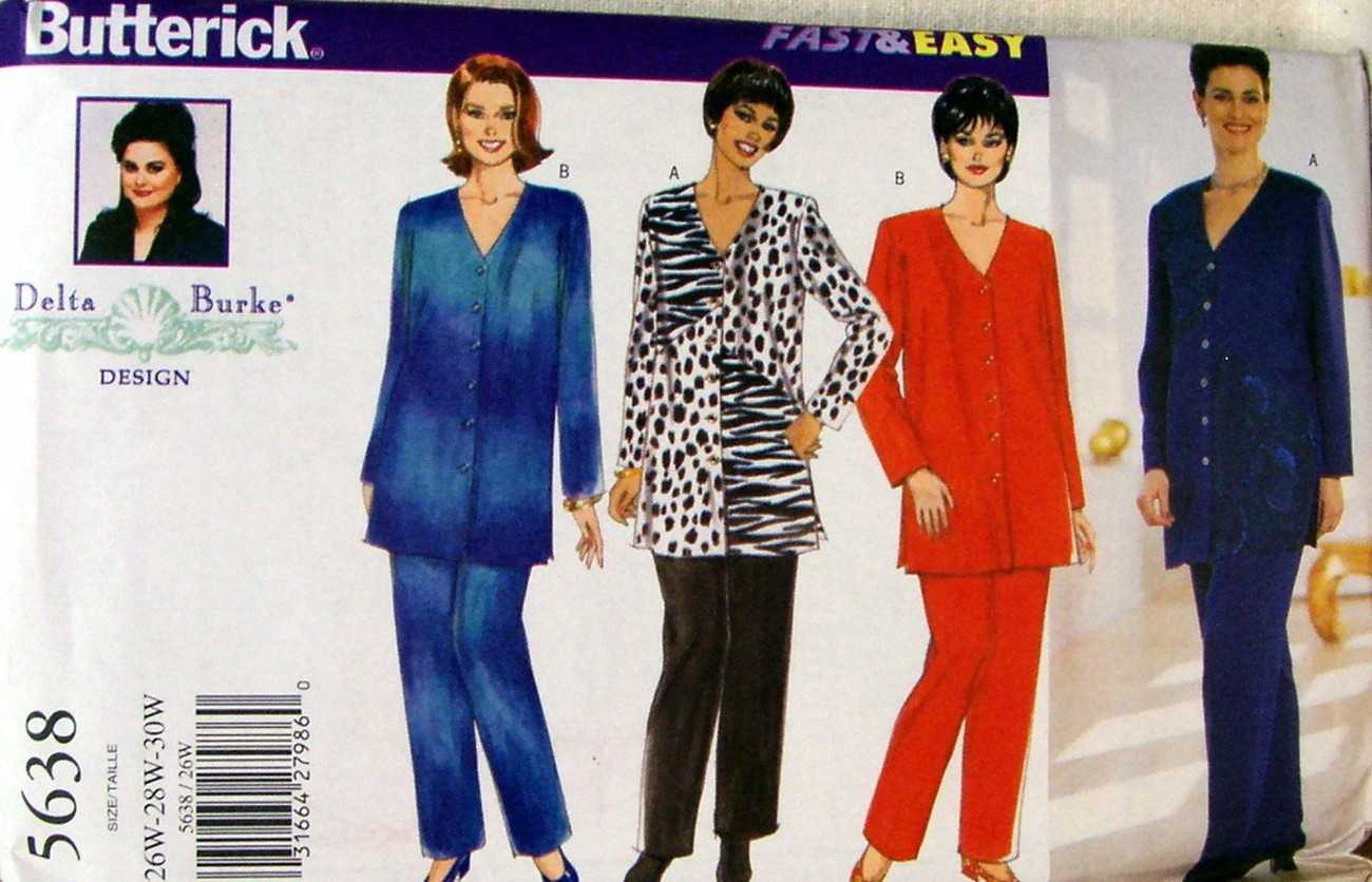 Primary image for Butterick PLUS SZ Delta Burke Design Pattern #5638 Pants & Top 26W-28W-30W