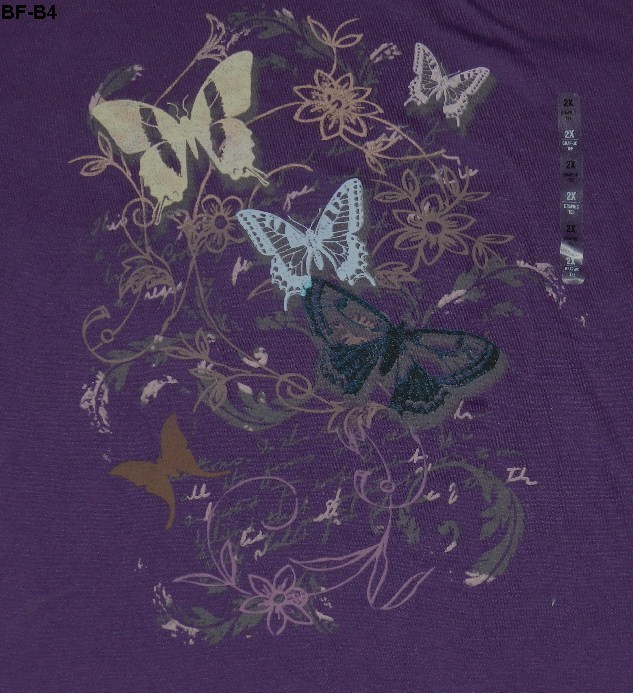 BASIC EDITIONS Womens Plus Size 2X Purple Butterfly Tee NWT