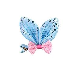 Set Of 5 Cute Rabbit Ears Side Clips Hair Pins Hair Accessories(Blue Sequins)
