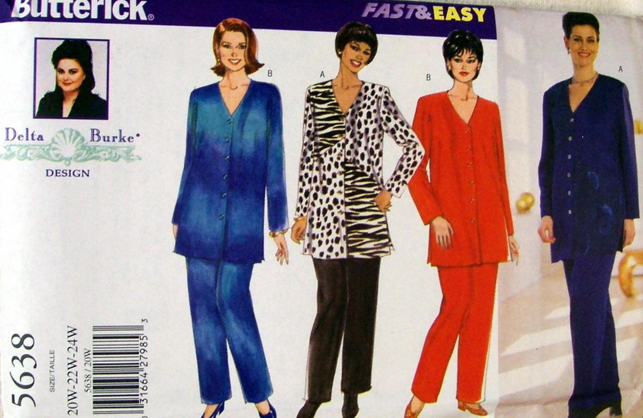 Butterick PLUS SZ Delta Burke Design Pattern #5638 Pants & Top 20W-22W-24W