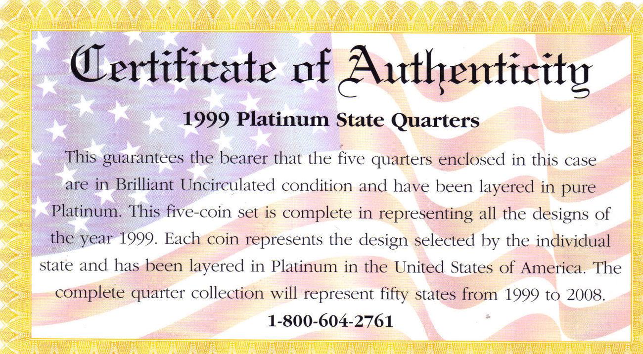 1999 PLATINUM EDITION STATE QUARTER COLLECTION