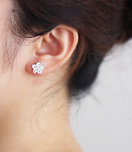 Elegant Bridal Studs. Cherry Blossom White Crystal Earrings Studs. 925 Silver  image 2