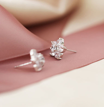 Elegant Bridal Studs. Cherry Blossom White Crystal Earrings Studs. 925 Silver  image 4
