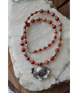 Coral necklace, Red Coral Necklace, Handmade gemstone necklace (968) - $33.00