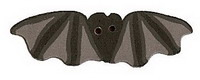 Small Black Bat 1102s  handmade clay button .87 inch JABC Just Another Button