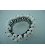 Vintage Japan Milk Glass Bead Expansion Cha Cha Bracelet   - $15.00