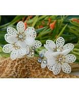 Vintage Coro Earrings Soft Plastic Filigree Flowers AB Rhinestones - $22.95