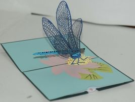 Lovepop LP1601 Dragonfly Pop Up Card White Envelope Cellophane Wrapped image 3
