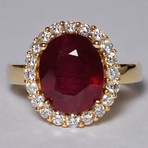 Custom Made Oval Ruby Diamond Statement Ring Women 14K Yellow Gold 8.61 ... - $1,999.00