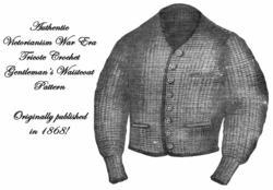Antique Victorian Man's Crochet Waistcoat Pattern 1868!