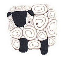 """Large Ewe 1146L handmade polymer clay button 1"""" JABC Just Another Button Company"""