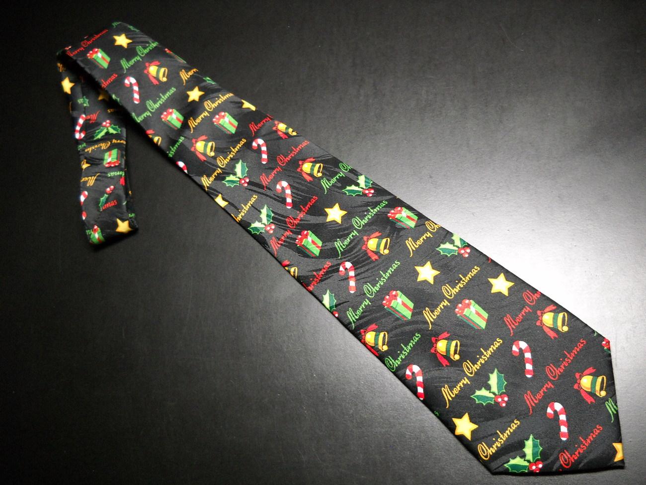Tie keith daniels christmas black merry christmas symbols in stripes 04