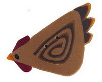 "Rooster 1174 handmade polymer clay button 1.37"" JABC Just Another Button Co"