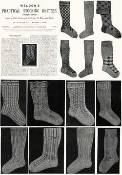 Antique Victorian Knitting Stocking Patterns HC c1910!