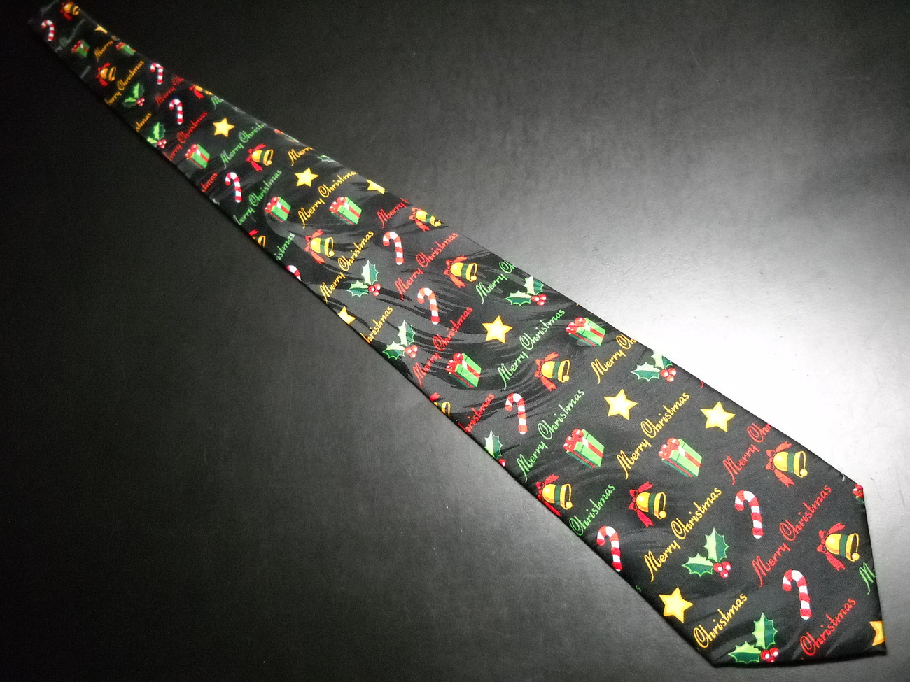 Keith Daniels Neck Tie Merry Christmas Theme Bands of Black Red Gold Greens