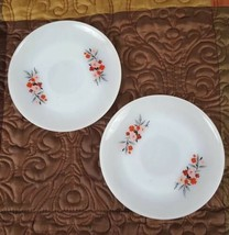 "(2) Two Fire King Oven Ware Primrose 5.75"" Saucers Pink Red Floral White USA - $6.50"